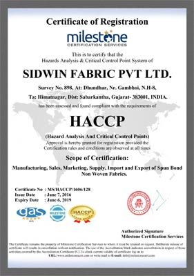 Sidwin Fabric Certification